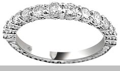 .95 Carat Hand Etched Graduating Size Diamond 14Kt Gold Anniversary Band