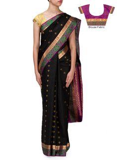 Black Pure Silk Jacquard Saree