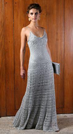 Elegant crochet gown.