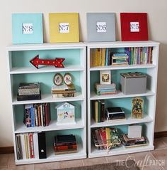 Love the styling and bright colors of these bookcases!