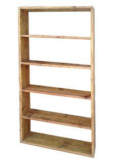 Estantería hecha con tarimas antiguas de madera.  En anticuable.com a medida. Ej. 190x90x25 200 €