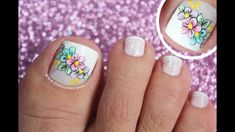 Diseño de uñas pies de flores - Easy flowers toenail Pedicure Nails, Toe Nails, Coffin Nails, Turquoise Highlights, Dimensional Hair Color, French Pedicure, Subtle Ombre, Hot Hair Colors, Nagellack Trends