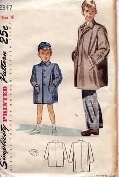 1940s Simplicity 2347 Boys Over Coat and Banie Cap Pattern  Childs Vintage sewing patten by mbchills