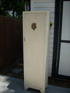 Vintage Shabby Kitchen Metal Storage Utility Industrial Cabinet | eBay  $69