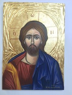 Jesus Christ -Handpainted Greek Christian Orthodox Byzantine icon on carved wood Byzantine Icons, Carved Wood, Jesus Christ, Greek, Carving, Christian, Hand Painted, Ebay, Collection