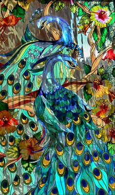 stained glass peacocks