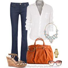 Denim and a White Shirt Online Womens Magazine Over 50 Womens Fashion, Fashion Over 50, Look Fashion, Fashion Outfits, Fashion Tips, Fashion Trends, French Fashion, Fall Fashion, Casual Outfits