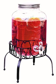 Rammento Vintage Beverage Glass Drink Dispenser With Stand (4 Litre With Stand)