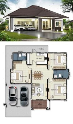 3 Concepts Of 3 Bedroom Bungalow House Modern House Floor Plans, Sims House Plans, House Layout Plans, Dream House Plans, House Layouts, House Design Plans, Bungalow Floor Plans, Dream Houses, Duplex House Design
