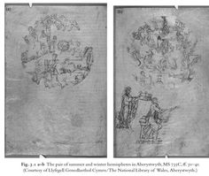 aberystwyth hemispheres - ms 735 c - maps of the constellations - from Illustrating the Phaenomena: Celestial Cartography in Antiquity and the .. By Elly Dekker