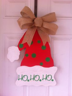 Wood Santa hat door hanger HO HO HO  WITH BURLAP BOW