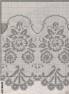 Crochet Curtain Pattern, Crochet Curtains, Curtain Patterns, Crochet Doilies, Crochet Patterns, Crochet World, Crochet Home, Filet Crochet, Knit Crochet