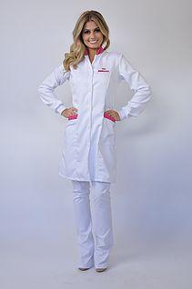 Jaleco feminino gola padre jalecos e aventais sob medida for Spa nagoya uniform