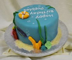 www.facebook.com/TheCakeArtists hand painted scuba diving birthday cake  #hand-painted #happy-birthday #cake #the-cake-artists #scuba-diving #fish
