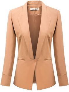 Casual Ladylike Band Collar Long Sleeve Casual Blended Blazer Blazers from fashionmia.com