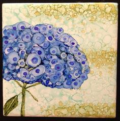 Alcohol ink Hydrangea on tile by me.