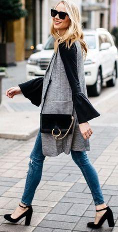 #winter #fashion /  Grey Sleeveless Cardigan / Black Shoulder Bag / Black Top / Ripped Skinny Jeans / Black Pumps