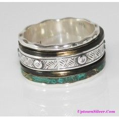 Silpada Artisan Jewelry Isabella 925 Sterling Silver Patina Brass Cubic Zirconia Size 11 - 11.5 Wide Band Spinner Ring
