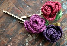 Linen flower hairpins  set of 3 by namolio on Etsy, $14.50