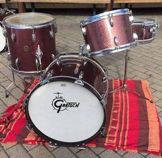 Gretsch Round Badge jazz / bop kit burgundy sparkle NO RES Vintage Tub, Vintage Drums, Drums For Sale, Jazz, Gretsch Drums, Beat Em Up, Charlie Watts, How To Play Drums, Drum Sets