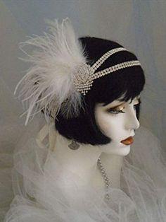 Flapper Headband, Gatsby Headpiece Ivory Feather Headband Flapper Gatsby Accessories with Tassel and Ribbon Look Gatsby, Gatsby Style, Flapper Style, 1920s Flapper, 1920s Style, Flappers 1920s, Retro Style, Great Gatsby Headpiece, Flapper Headpiece