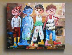 Friendship -- Oil Painting Original 100% hand-painted beautiful oil painting stretched on wooden bars, ready to hang. Each painting is unique. 5-15% of differences will appear from one canvas to another.