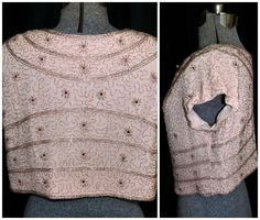 Vintage 1950's 1960's Blush Pink Crepe Beaded Top by CicelysCloset