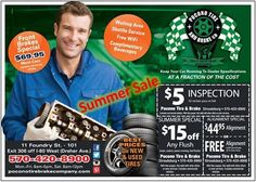 'Let Pocono Tire & Brake Co. keep your vehicle running and ready for the road this summer with these great savings!!!  $69.95 Front Brake Special* $5 PA State Inspection* $15 OFF Any Flush Service $44.95 Computer Alignment or FREE with purchase of 4 NEW TIRES  Must present coupon at time of service. Can not be applied to commercial vehicles. Not valid with any other discount or offer. *Front Brake Special applies to most cars. Minivans, Large SUVs, and Light Trucks have an additional charge…