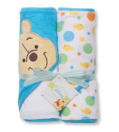 $15.00 Baby Disney Pooh 2 Pack Hooded Towel, White / Blue - Dry off little ones in Disney Winnie the Pooh style. These hooded towels keep infants warm and covered when bath time is over. http://www.amazon.com/dp/B004PBBPBI/?tag=pin2baby-20