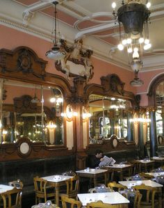 Interior of Cafe Majestic in Porto. I like the mirrors and built in seating