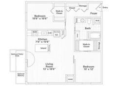 2 Bedroom, 1 Bath Floor Plan of Property Eitel Building City Apartments. Eitel Building City Apartments with large closets, over-sized storage and spacious floor plans in downtown Minneapolis. Apartments for rent in Loring Park.
