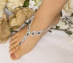 Wedding Purple Barefoot SandalsBridal Foot Jewelry Silver