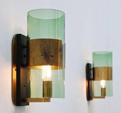 Denis Casey; Brass and Glass Wall Lights for Casey Fantini, 1950s.