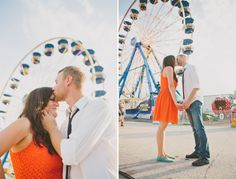 Sweet kiss with ferris wheel in background.  Prefer the shot on the left
