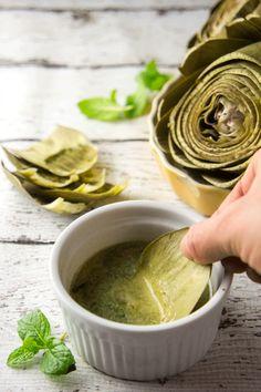 Artichokes with Lemon Mint Butter — Foraged Dish
