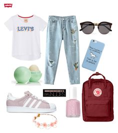 """#Summer😍🎀💘"" by l1a1r0a8 on Polyvore featuring Mode, adidas, Levi's, Fjällräven, Essie, Eos, Charlotte Russe und Illesteva"