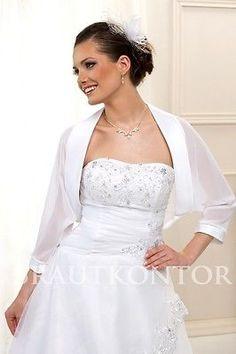 (BKB-12) Bolero Hochzeit Schal Chiffon Brautjacke WEISS IVORY 36/38,40/42,44/46