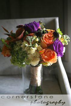 Plum, eggplant, fuschia, PURPLE wedding flowers - with a hint of peach/orange