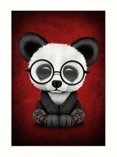 'Cute Panda Bear Cub with Eye Glasses on Deep Red' Art Print by jeff bartels Niedlicher Panda, Panda Love, Cute Panda, Pandas Baby, Cute Baby Animals, Cute Animal Drawings, Cute Drawings, Panda Lindo, Panda Wallpapers