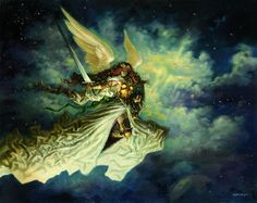 The Greatest Magic: The Gathering Art of All Time Baneslayer Angel - Greg Staples  Here, Staples eschews pseudo-realism for a gorgeous, almost Impressionist angel. This card is one of the most powerful creatures in Magic, and at one time cost almost $60...while it was still in print.