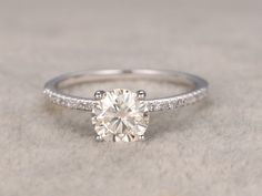 13 ct brillant Moissanite fiançailles bague or blanc par popRing