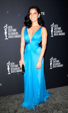 Olivia Munn in a beautiful blue gown at the 16th Costume Designers Guild Awards