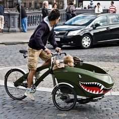 trioBike Cargo Hauler must not be american, NO Helmet on baby or dad!
