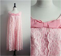 60s Lace Bow Dress Pink Cocktail Mini 1960s by PARASOLvintage, $56.00