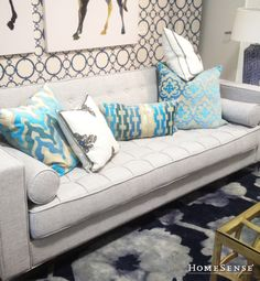 I like the one cushion Homesense, Ikat Pillows, First Apartment, Florida Home, Living Room Inspiration, Decoration, Interior Styling, Interior And Exterior, Love Seat