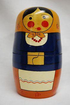 RARE Russian Nesting Dolls Poland Matryoshka Folk Art Wood Wooden Figures Toy   eBay