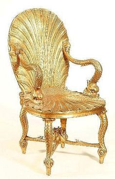 A Venetian carved giltwood 'grotto' open armchair, late 19th