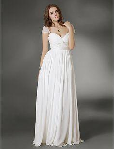 Vestido largo de noche blanco de gasa @ Vestidos de Fiesta Baratos