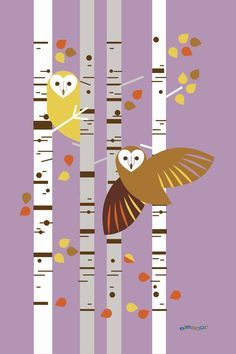 Owls among the birches