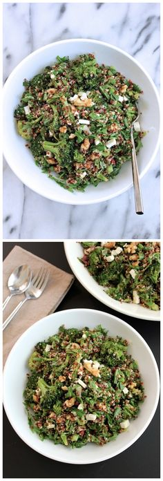 Quinoa with Roasted Broccoli and Arugula Salad
